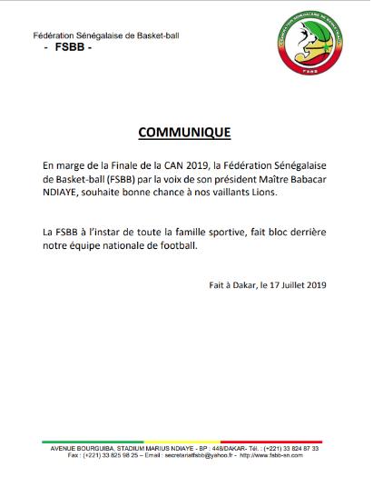 """Finale CAN 2019: Le Basket Sénégalais a fond derrière les """"Lions"""""""