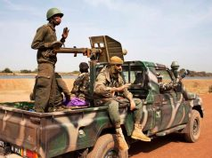 Malian Soldiers Ride In A Malian Army Pickup Truck In Diabaly