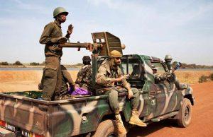 Malian Soldiers Ride In A Malian Army Pickup Truck In Diabaly
