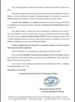 L'Eglise Suspend le pèlerinage de Popenguine et les messes à caractère public !