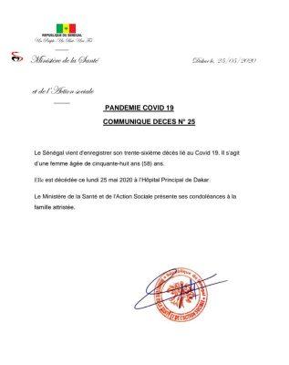 Covid-19: 36e décès au Sénégal (Communiqué)