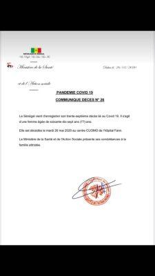 Covid-19: Le Sénégal enregistre un 37e décès