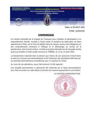 La Gendarmerie réagit aux accusations de torture portées contre elle par l'activiste Ardo Gningue (Communiqué)