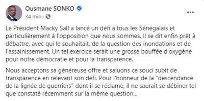 Inondations: Sonko se dit prêt à débattre avec Macky