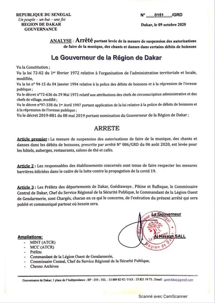 Covid 19 : Le Gouverneur de Dakar fait une importante annonce (Document)