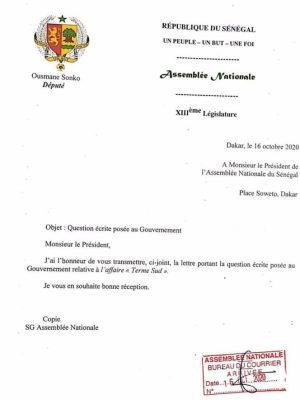 """Parlement : Sonko dépose deux questions écrites sur l'affaire """"Terme Sud et la cession de biens immobiliers appartenant à l'Etat"""""""