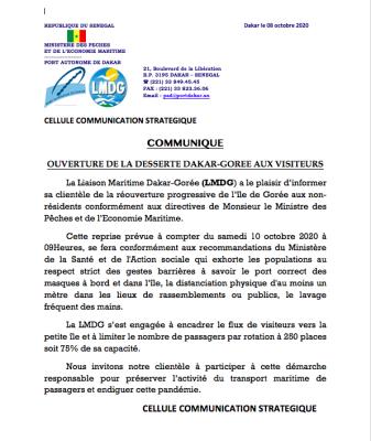 La réouverture de l'île de Gorée prévu ce samedi (Communiqué)
