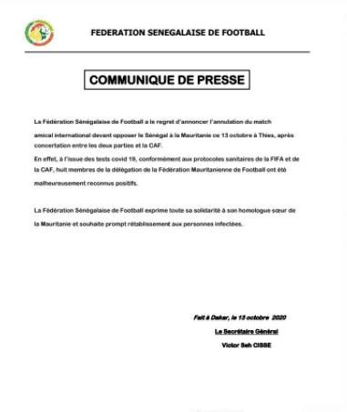 Le match Sénégal-Mauritanie annulé, in extrémis !