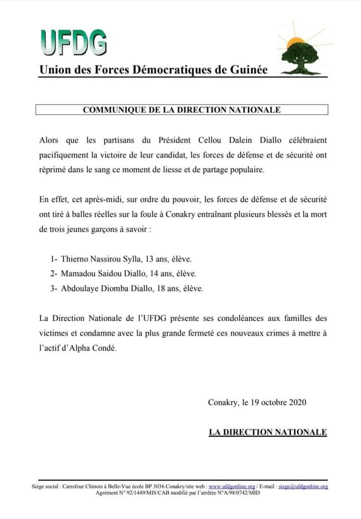 """Présidentielle/ """"Victoire"""" de Cellou Diallo """"Trois jeunes tués"""" (Ufdg)"""