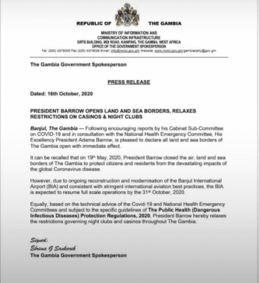 Covid-19 en Gambie : Levée des restrictions, toutes les frontières de nouveau ouvertes
