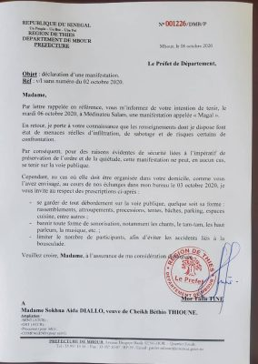Medinatoul Salam: Sokhna Aïda DIallo interdite de magal sur la voie publique (Document)