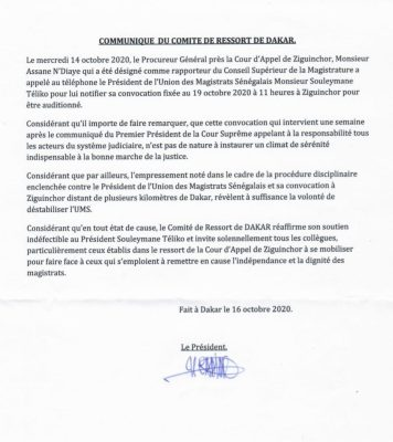 Remous dans la Magistrature: Souleymane Téliko convoqué à... Ziguinchor pour audition