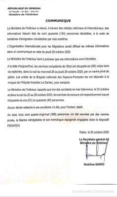 Migration irrégulière : Le ministère de l'intérieur dément les 140 décès annoncés par l'OIM