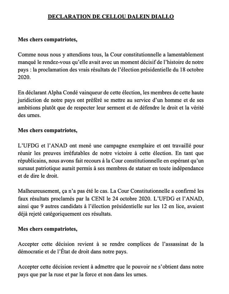 """GUINÉE/CELLOU DALEIN DIALLO: """"J'ai gagné cette élection..."""""""
