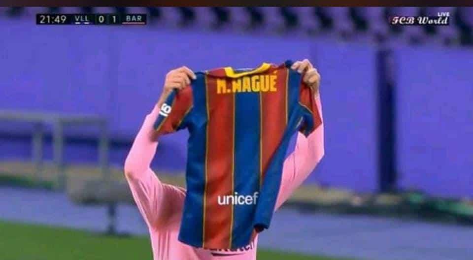 (Photo) Touchant: Lenglet le défenseur du FC Barcelone a rendu un hommage à Moussa Wagué après avoir marqué un joli but