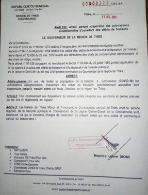 Covid-19 à Thiès: Le Gouverneur ferme les débits de boissons jusqu'à nouvel ordre