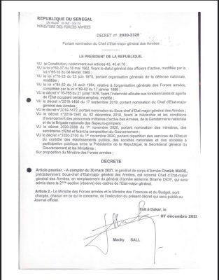 Armée sénégalaise : Le Général Cheikh Wade nommé CEMGA