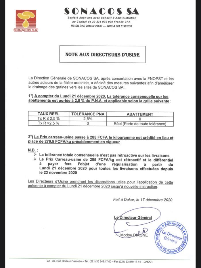 La Sonacos annonce une augmentation du prix carreau-usine de 276,5 à 285 Fcfa (DOCUMENT).