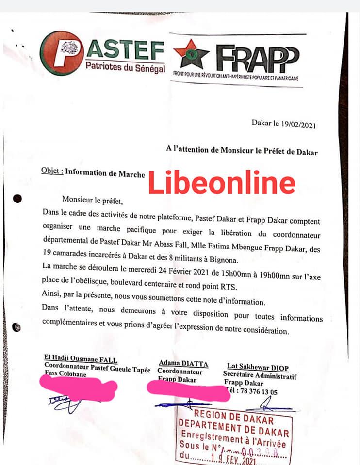 (Document) Dernière minute- Marche de Frapp et de Pastef : Le préfet donne le verdict