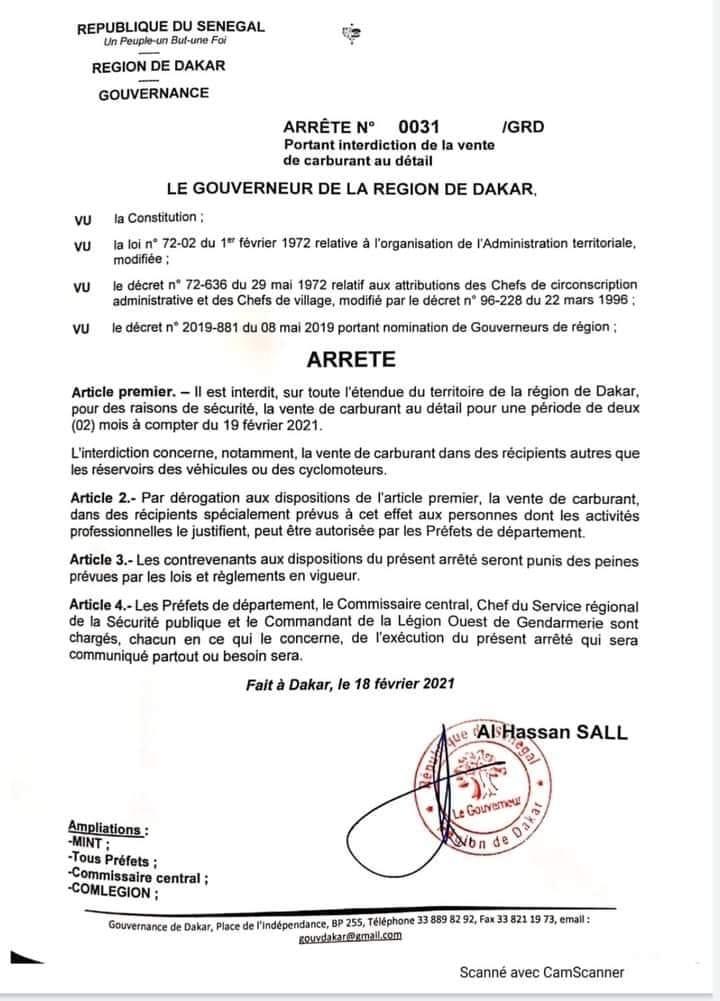 Urgent : Le Gouverneur de Dakar interdit la vente de carburant au détail
