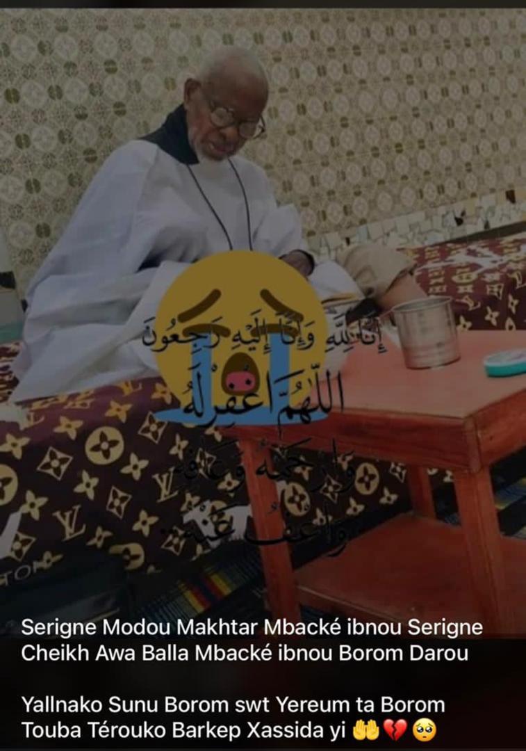 URGENT - Nécrologie: La communauté Mouride en deuil, Serigne Modou Makhtar Mbacké a tiré sa révérence