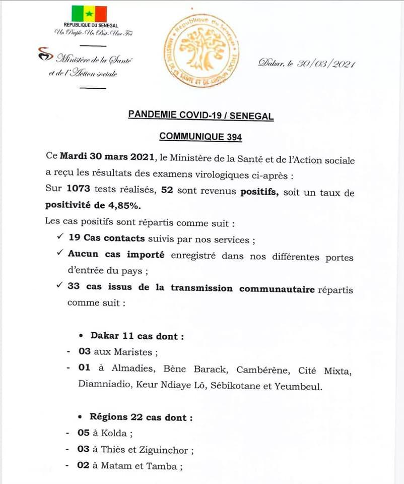Covid-19 : 05 décès et 52 nouvelles contaminations