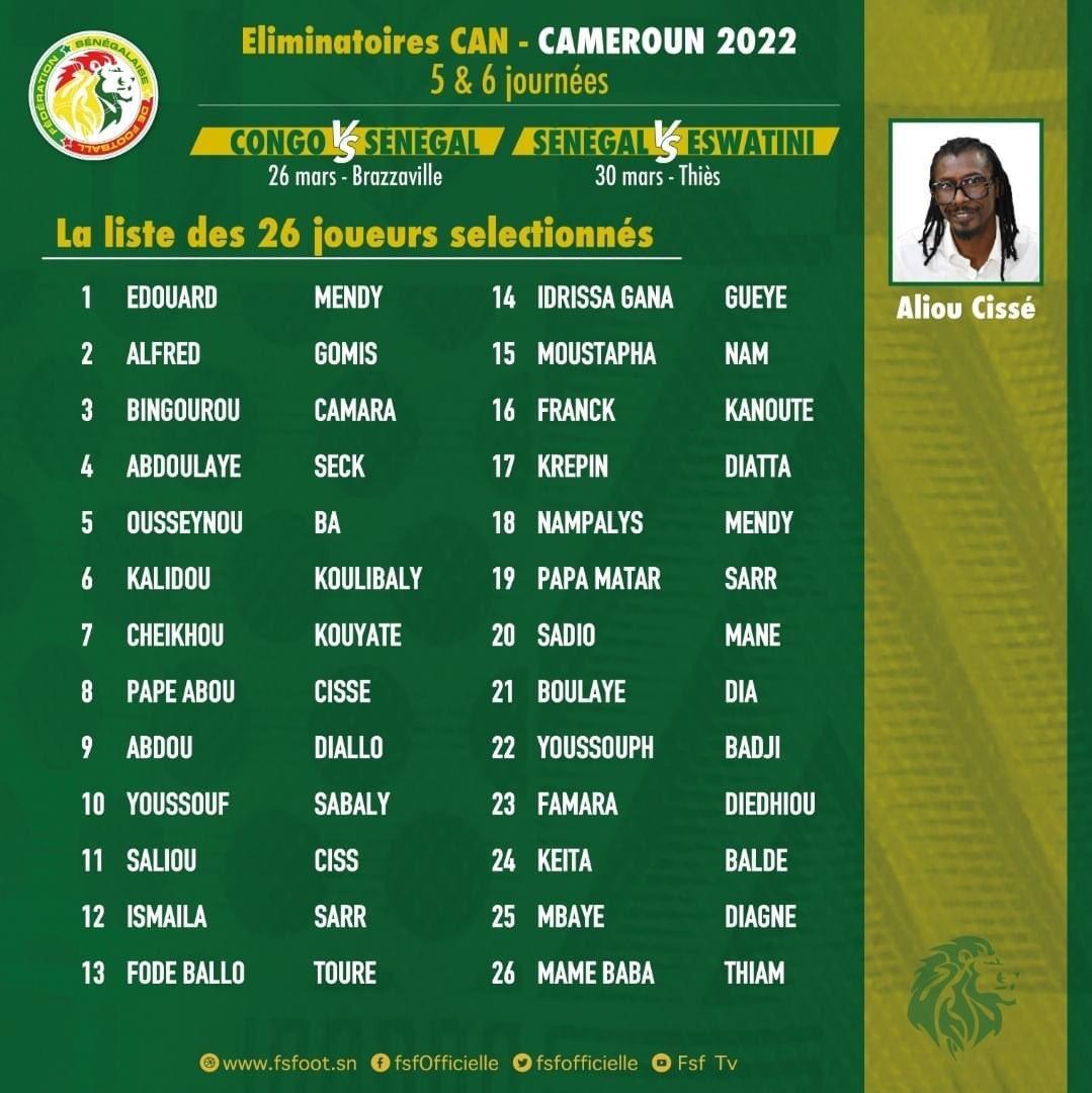 Congo - Sénégal et Sénégal - Eswatini : Voici la liste des 26 joueurs sélectionnés par Aliou Cissé