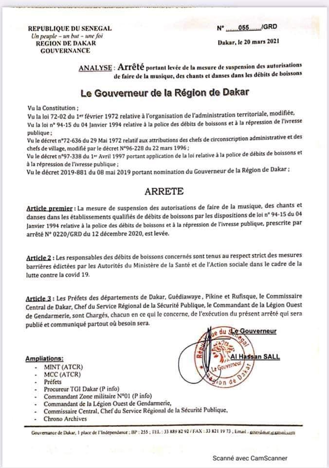 """DAKAR/ FIN DE L'ETAT D'URGENCE HIER A MINUIT/DÉBITS DE BOISSONS: Le gouverneur """"lève"""" les restrictions"""