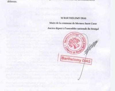 Affaire Ousmane TOUNKARA, Barthélémy DIAS écrit au juge américain