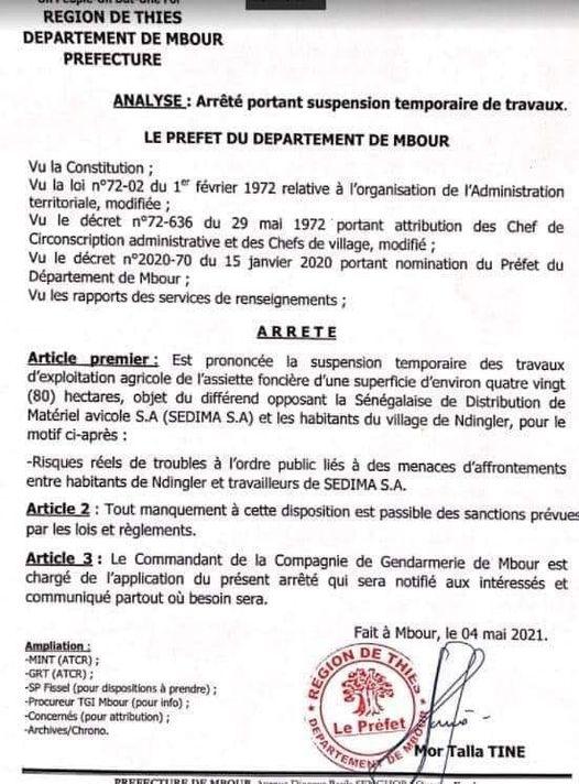 NDingler - Menaces d'afrontements: Le préfet de Mbour sort un arrêt (Document)