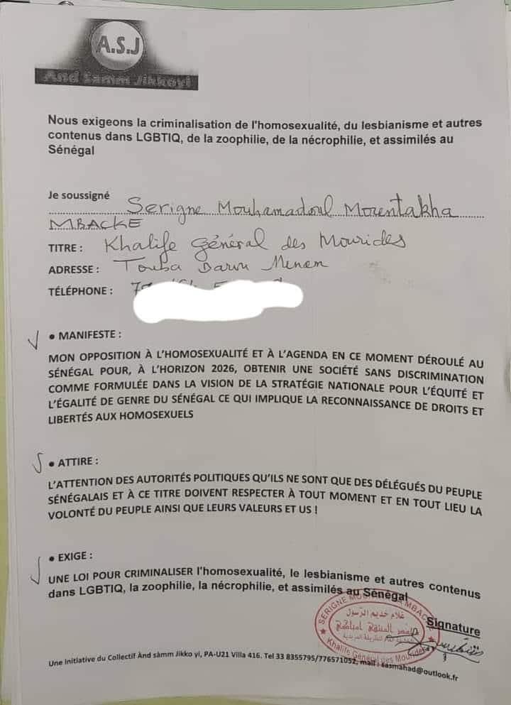 Criminalisation de l'homosexualité : Serigne Mountakha a signé la pétition (document)