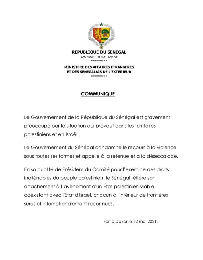 Situation en Palestine : le Gouvernement sénégalais condamne le recours à la violence