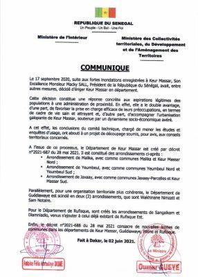 Urgent: Keur Massar officiellement 46e département du Sénégal (Document)