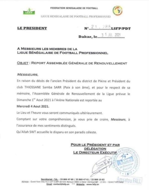 Décès de Samba Sarr : l'AG de la LSFP reportée !