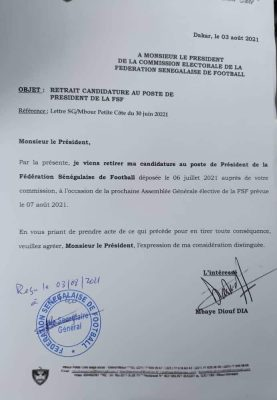 Présidence FSF : Mbaye Diouf Dia retire sa candidature